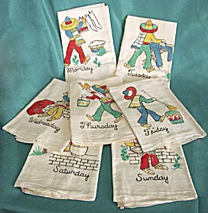 Vintage Mexican Days of the Week Kitchen Towels (Image1)