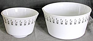 Vintage White Glass With Black Flowers Mixing Bowls