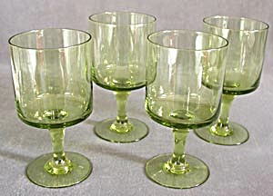 Vintage Green Stem Glasses Set Of 6