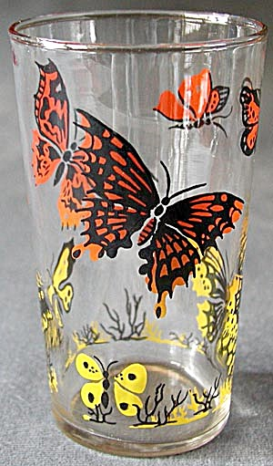Vintage Butterfly Drinking Glasses Set Of 5