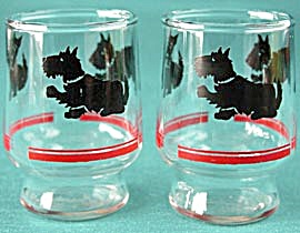 Vintage Scottie Small Glass Pair