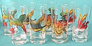 Vintage Game Bird Drinking Glasses Set Of 8