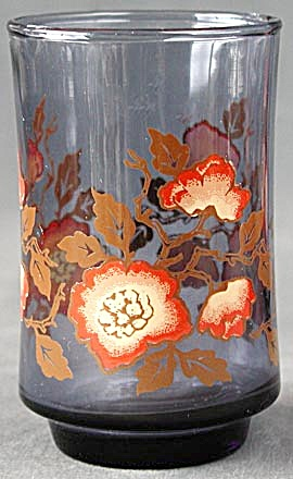 Vintage Blue With Orange Flowers Juice Glasses