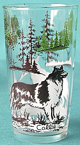 Vintage Collie & Shepherd Dog Glass