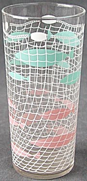 Vintage Fishing Net & Fish Drinking Glass