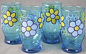 Vintage Blue Drinking Glasses With Flowers
