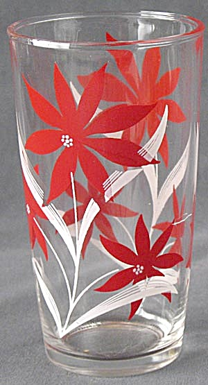 Vintage Red & White Flower Glass
