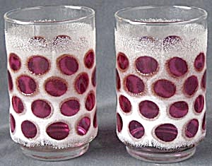 Vintage Pink Dot Drinking Glasses Pair