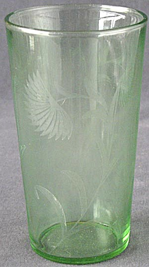 Vintage Etched Green Floral Glass
