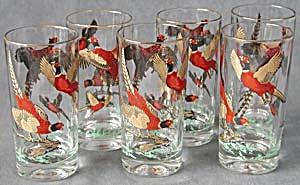 Vintage Pheasant Game Bird Drinking Glasses Set Of 6