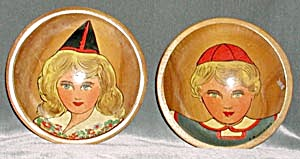 Vintage Wooden Painted Boy & Girl Bowls