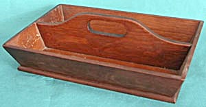 Vintage Wooden Cutlery Box Center Handle (Image1)