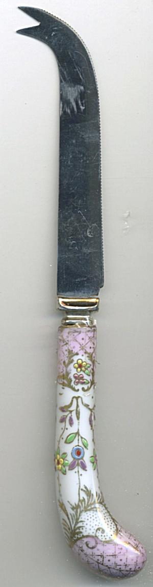 Vintage Serrated Blade Porcelain Handle Cheese Knife (Image1)