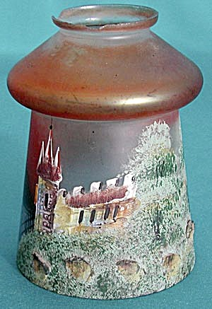 Vintage Unusual Glass Shade with Raised Castle (Image1)