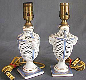 Antique Pair of White and Periwinkle Rams Head Lamps (Image1)