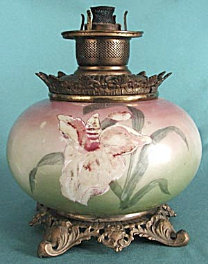 Antique Hand Painted Lily Oil Lamp (Image1)