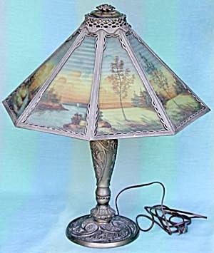 Vintage Landscape Reverse Paneled Painted Table Lamp (Image1)