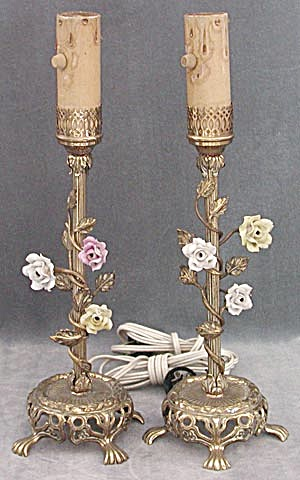 Vintage Pair Bronze Table Lamps with Porcelain Flowers (Image1)