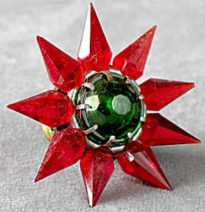 Vintage Matchless Star Glass Bulb Red W/ Green Jewel