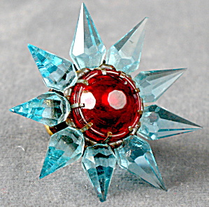Vintage Matchless Star Glass Bulb Blue W/ Red Jewel