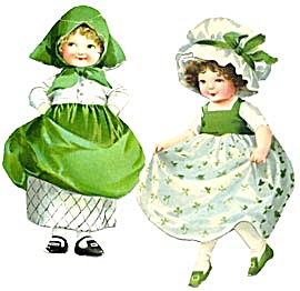 Vintage St. Patricks Day Girls & Boy Cut From Postcards (Image1)
