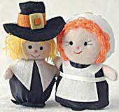 Thanksgiving Pilgrim Couple Cloth Ornaments
