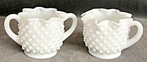 Vintage Hobnail Milk Glass Creamer & Sugar