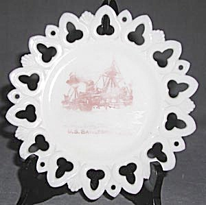 Antique Milk Glass U. S. Battleship Maine Plate (Image1)
