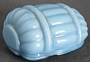 Vintage Blue Milk Glass Bird Cage Feed Or Water Cup