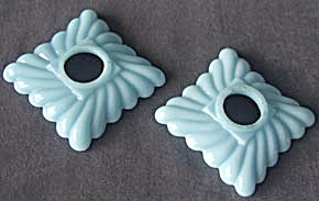 Vintage Pair Of Blue Milk Glass Square Bobeches
