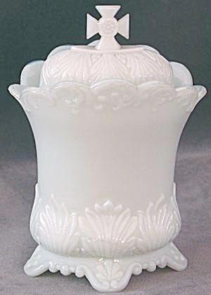 Antique Milk Glass Covered Container With Cross Finial