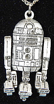 Vintage star Wars R2-d2 Pewter Pendant Necklace