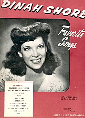 Dinah Shore Favorite Songs Sheet Music With Words &