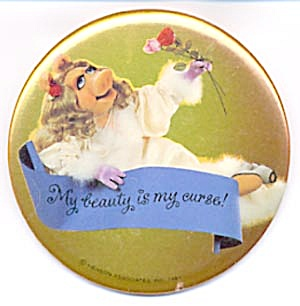Vintage Hallmark Pin Or Picture Of Miss Piggy On Bed