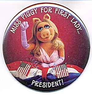 Vintage Hallmark Pin Or Picture Of Miss Piggy With Flag
