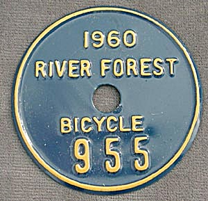 Vintage Metal Bicycle License Plate (Image1)