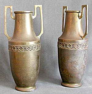 Vintage Brass Grecian Style Vases