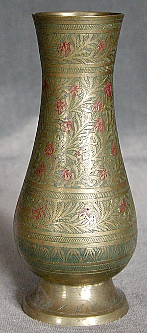 Vintage Etched Brass Vase Vases At Silversnow Antiques And More