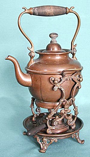 Vintage Copper Kettle On Stand (Image1)