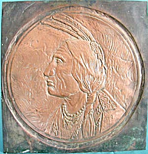 Vintage Copper American Indian Embossed Plaque (Image1)