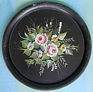 Vintage Large Round Black Tole Tray With Flower Spray