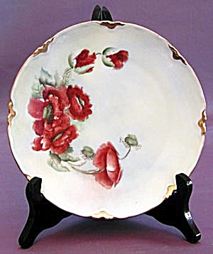 Antique Mz Hand Painted Poppy Plate