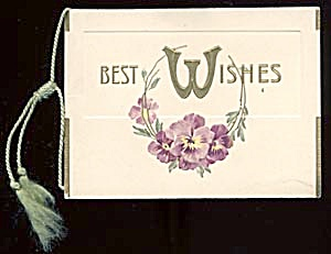 Vintage New Year  Card with Pansies (Image1)