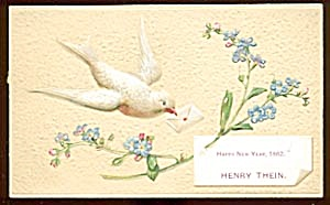 Vintage New Year Calling Card With Dove