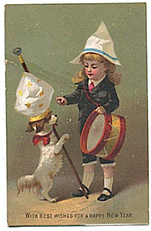 Vintage New Year Card with Child & Dog (Image1)