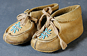 Vintage Native American Childs Beaded Leather Moccasins