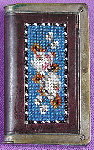 Antique Beaded & Leather Match Box