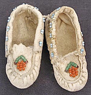Miniature White Leather & Beaded Indian Moccasins