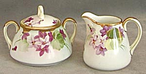 Vintage Nippon Violet Creamer and Sugar (Image1)