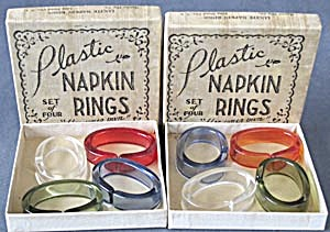 Vintage Lucite Napkin Ring Set Of 8